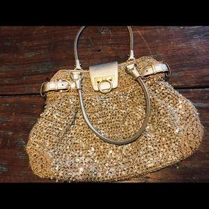 Salvatore Ferragamo Gold Sequin Hobo Bag
